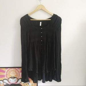 Free People Black Button down Bell sleeve tunic